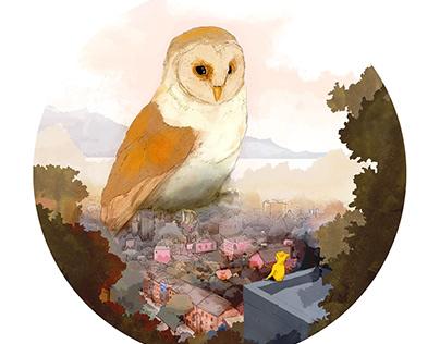 City Owl Illustration