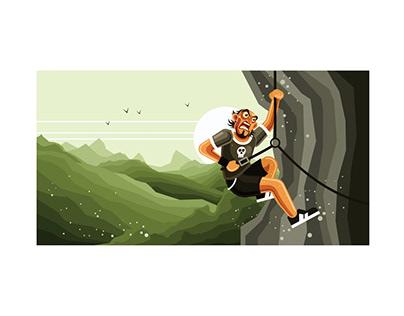 Rock Climber Vector Graphics Illustration Free Download