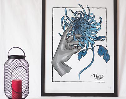 Chrysanthemum Screenprinting poster design