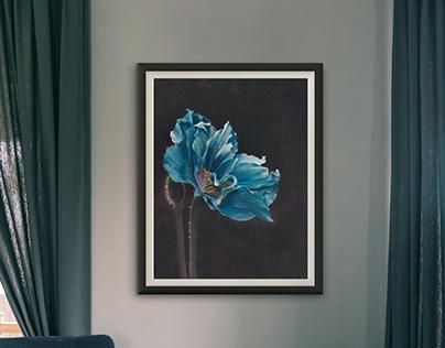 On black: Blue flower
