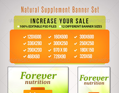 Natural Supplement Product Banner Set