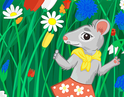 Mouse and cactus. Book illustration