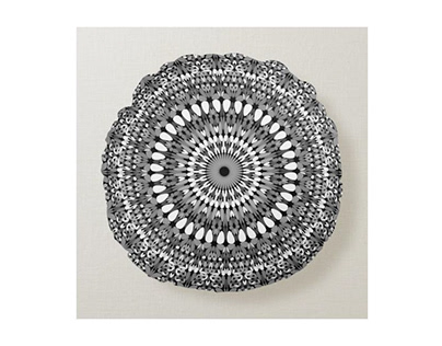 Grey Ornate Gravel Mandala Pillow