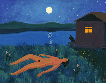 The girl lies on the grass after the sauna at night.