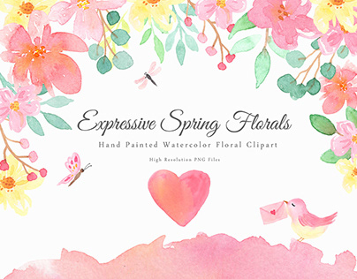 Expressive Watercolor Spring Florals Clipart