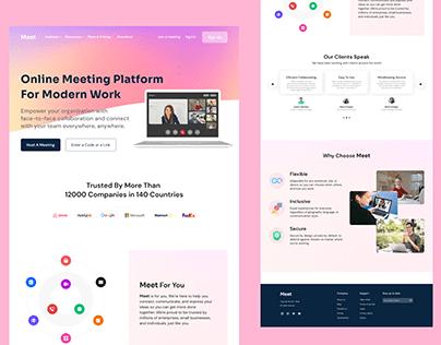 Meet, Online Meeting Platform - Landing Page