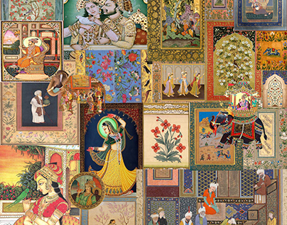 Digital textile print inspired by mughal miniature