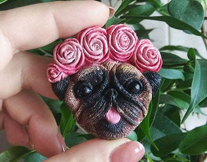 PUG - Handmade souvenir magnets and pins