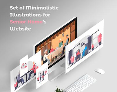 Minimalistic Illustrations for Senior Home's Website