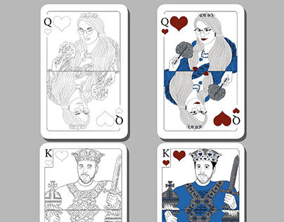 King and Queen - ilustration, playing cards