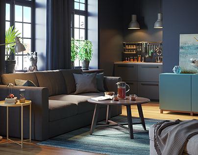 Интерьер с мебелью Ikea