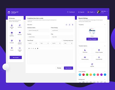 Resume Builder - Web App UI Design | V2