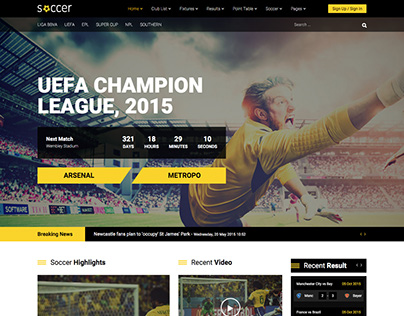 Soccer - Sport / Team / Club Joomla Template