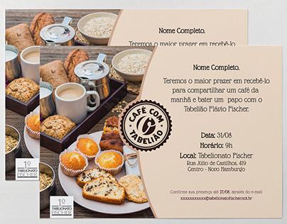 Selo e Convites - Café com o Tabelião - 1° Tab. Fischer