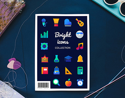 Bright flat icons collection