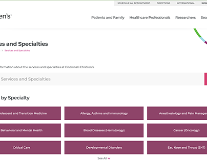 Cincinnati Children's Clinical Services Site Redesign