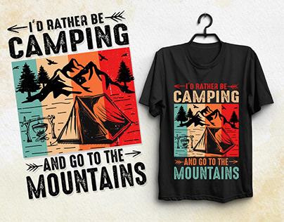 Mountain Camping T-Shirt Design