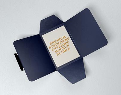 (1 Free Sample Included) Stationery Envelope Mockup Set
