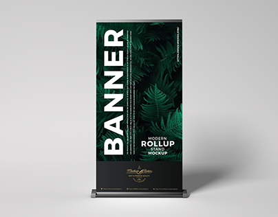 Free Roll-Up Stand Mockup