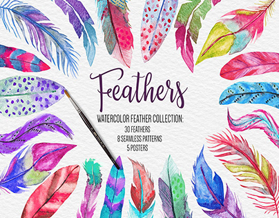 Watercolor Feathers Clipart, Pattern, Poster