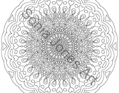 Second Mandala colouring page.