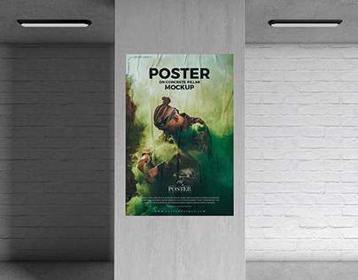 Concrete Pillar Poster Mockup Free