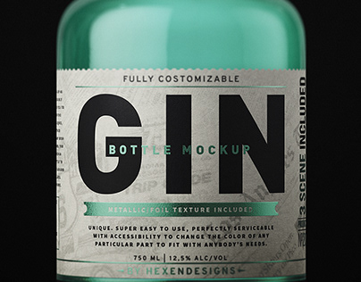Gin Bottle Mockup+Free Sample