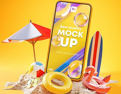 Summer Holiday Phone Mockup and Poster 3D