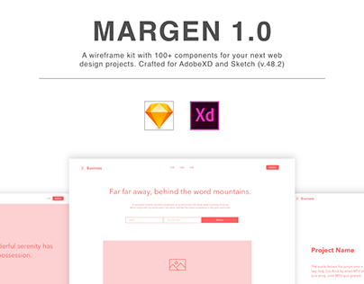 Margen Wireframe Kit for Sketch and AdobeXD