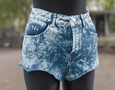 Realistic 3D model of Women's Jean Shorts