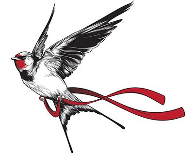 Swallow and ribbon