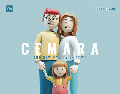 CEMARA - 3D character family illustrations