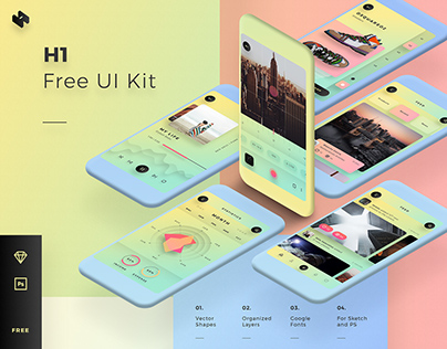 H1 / Free Mobile UI Kit for Sketch & Photoshop