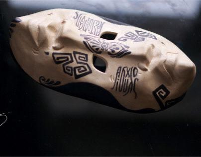 Greek theater mask. Stylization