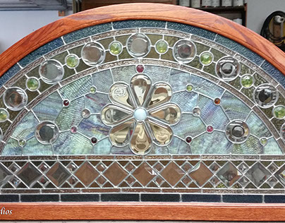 Antique Stained Glass transom leaded panel Restoration