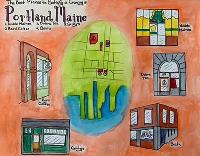 Travelogue Map of Portland, Maine