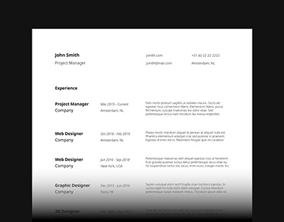 Minimal CV and Cover Letter for 2021