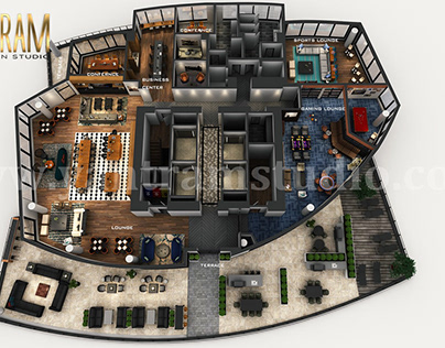 3D Virtual Floor Plan of Apartment's Rooftop