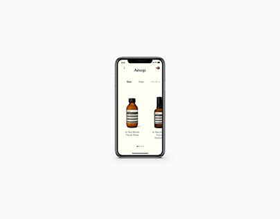 Conceptual UI/UX for Aesop Mobile App