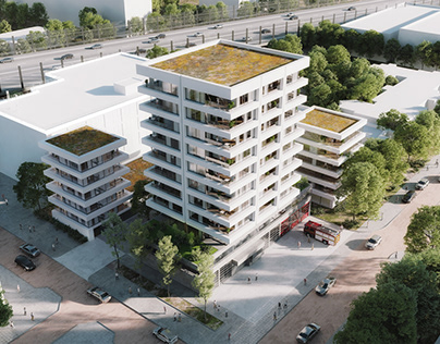 Firehouse with Apartments Visualisations in Holland