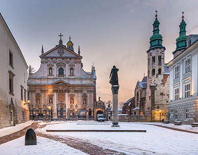 Winter in the center of Krakow