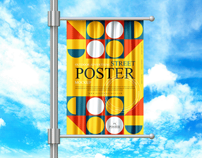 Outdoor Street Poster Mockup Free