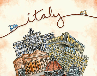 Italy Sights - Travel Poster