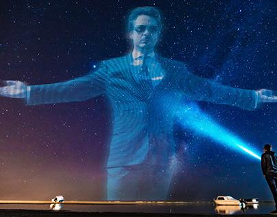 Iron Man in the night sky