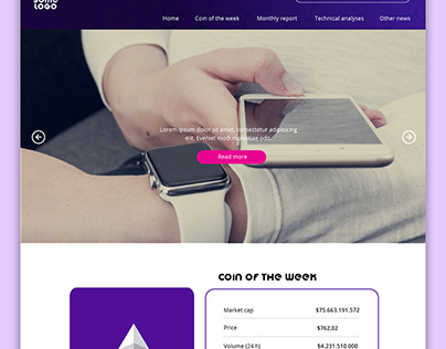 Website template for a cryptocurrency blog