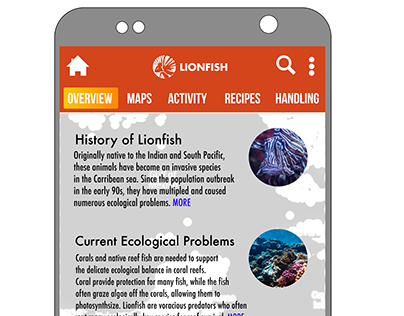 Lionfish app screens