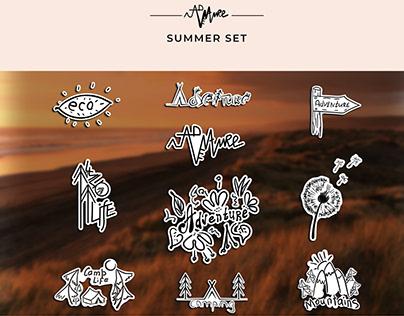 Summer. Travel bundle: 10 doodle logos
