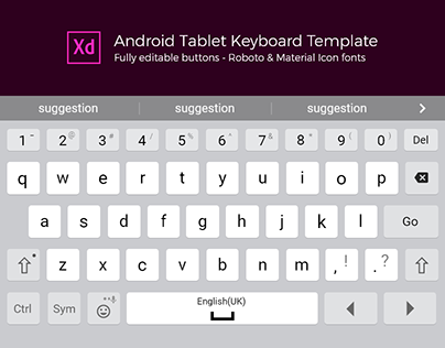 Adobe XD Android Tablet Keyboard Template