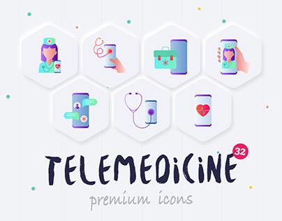 Telemedicine | 32 Icons Set