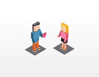 Happy Valentines Day's -2D Animation isometric